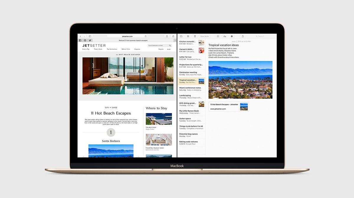 Ähnlich wie bereits mit Windows 8 kann man mit OS X El Capitan zwei Apps in einer angepassten Ansicht nebeneinander öffnen.