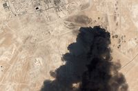 "This satellite overview handout image obtained September 16, 2019 courtesy of Planet Labs Inc.  shows damage to oil/gas infrastructure from weekend drone attacks at Abqaig on September 14 2019 in Saudi Arabia. - Drone attacks on key Saudi oil facilities have halved crude output from OPEC's biggest exporter, catapulting oil prices by the largest amount since the first Gulf War. The crisis has focused minds on unrest in the crude-rich Middle East, with Tehran denying Washington's charge that it was responsible.Brent oil prices leapt 20 percent on Monday to chalk up the biggest intra-day daily gain since 1991. (Photo by HO / PLANET LABS INC. / AFP) / RESTRICTED TO EDITORIAL USE - MANDATORY CREDIT ""AFP PHOTO / Planet Labs Inc. / HO"" - NO MARKETING NO ADVERTISING CAMPAIGNS - DISTRIBUTED AS A SERVICE TO CLIENTS == NO ARCHIVE"