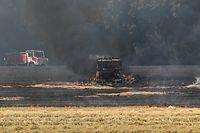 Lokales,Feldbrand in Hamm,CGDIS. Feuerwehr,Brand,Feuer,Hitze,Sommerhitze. Foto. Gerry Huberty/Luxemburger Wort