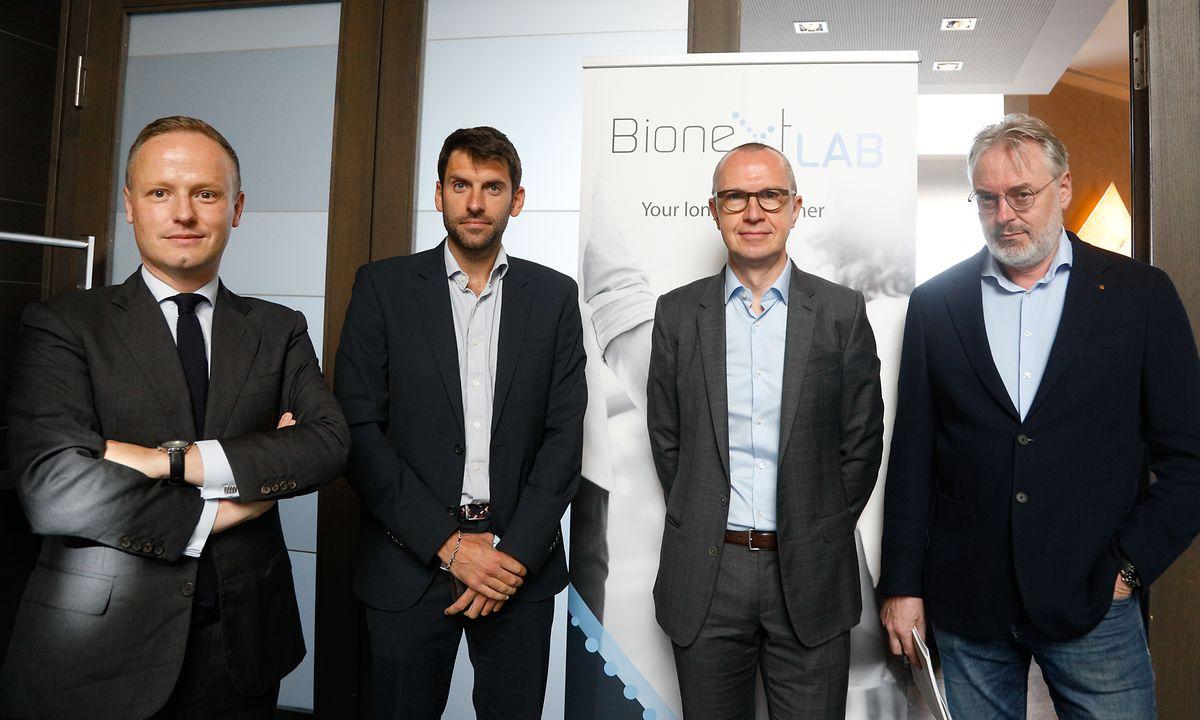 Pour assurer la défense de ses intérêts, le patron de BioneXt (2e à droite) s'appuie sur un trio d'avocats : Mes Nicolas Thieltgen, Sébastien Engelen et Jean-Louis Dupont.