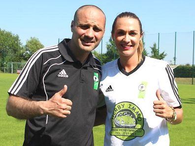 O treinador Pedro Cunha e a capitã do Junglinster, Carina Alves
