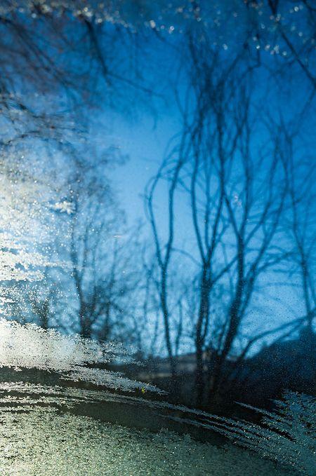 Der Blick für die Schönheit der einzelnen Eiskristalle geht verloren, wenn an einem Wintermorgen die Windschutzscheibe des Autos zugefroren ist.