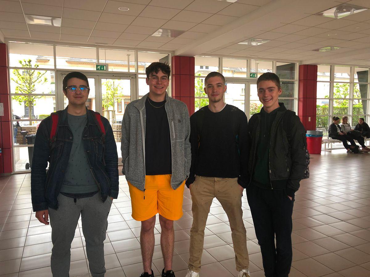 (v.l.n.r.) Louis Elsen (19), Leonardo Capus (19), Denis Hill (19) und Keano Matteagi (18). Dir Truppe aus der E-Sektion ist sich sicher, dass sie das Kunstgeschichte-Examen geschafft haben.
