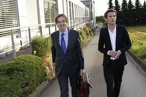 5:45pm Fränk Schleck arrives at Maison des Sports, accompanied by his lawyer Albert Rodesch