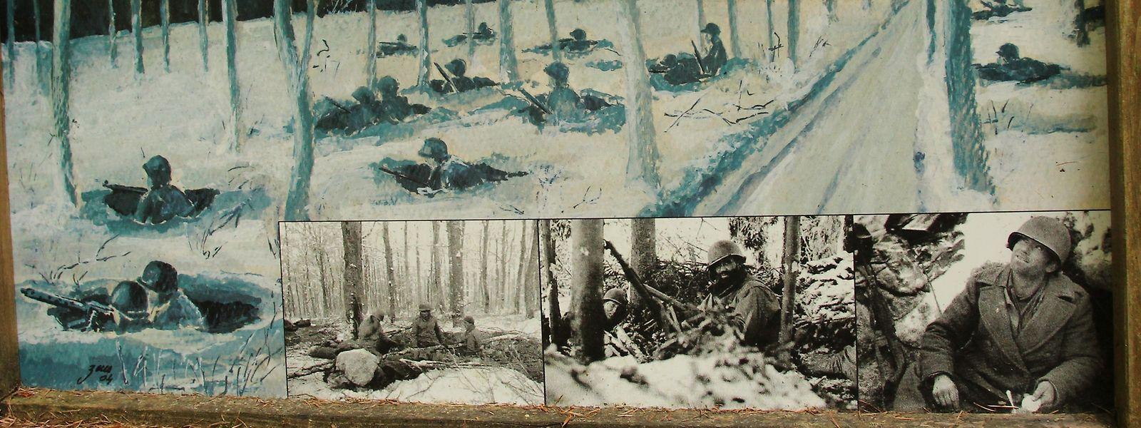 Die Plakate zeigen Szenen aus dem Winter 1944/1945 am Schumannseck.