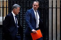 "Britain's Foreign Secretary and First Secretary of State Dominic Raab (R) walks from the Foreign Office towards 10 Downing Street in central London on January 6, 2020. - The leaders of Germany, France and Britain on Sunday urged Iran to drop measures that go against the 2015 nuclear deal, after Tehran announced it would no longer abide by a limit on enrichment. With tensions rising following the US drone strike at Baghdad airport that killed Iranian general Qasem Soleimani and top Iraqi military figure Abu Mahdi al-Muhandis, the European leaders also urged Iran to refrain from taking ""further violent actions or support for them."" (Photo by Tolga AKMEN / AFP)"