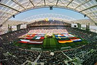 (FILES) This file photograph taken on June 12, 2004, shows a general view of the Euro 2004 opening ceremony at The Dragao Stadium (Estadio do Dragao) in Porto, ahead of the beginning of the Euro 2004 group A football match between Portugal and Greece at the European Nations Championship in Portugal. - UEFA announced on May 13, 2021, that this month's Champions League final between Manchester City and Chelsea has been moved from Istanbul to Porto. The match on May 29 has been switched to allow English supporters to attend as travel between the UK and Turkey is suspended because of the coronavirus pandemic. (Photo by Fran�ois-Xavier MARIT / AFP)