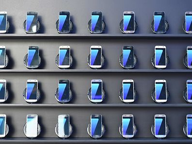 Samsung Galaxy S7 mobile devices on display at the Olympic Park in Rio de Janeiro.