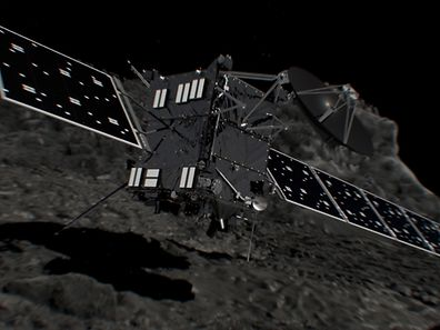 Handout picture released on September 27, 2016 by the European Space Agency (ESA) shows a computer generated artist's impression of Rosetta shortly before hitting Comet 67P/Churyumov�Gerasimenko on September 30, 2016.