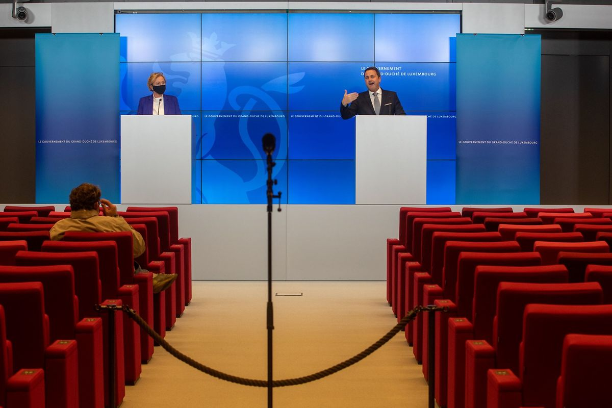 Health Minister Paulette Lenert (left) with Prime Minister Xavier Bettel on Friday Photo: Gerry Huberty