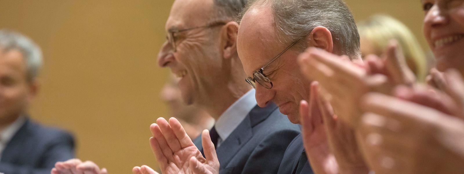 Stabwechsel: Michel Wurth (l.) gibt die Präsidentschaft der Handelskammer an Luc Frieden ab.