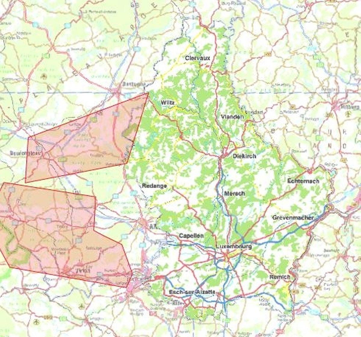 Les deux zones retenues par les autorités belges qui préoccupent le Luxembourg au plus haut point.