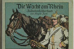 """""""Die Wacht am Rhein"""", ein Soldatenliederbuch aus dem 1. Weltkrieg. Die """"Wacht am Rhein"""" ertönt auch in den ersten Kriegstagen in Luxemburg."""