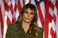 US First Lady Melania Trump addresses the Republican Convention during its second day from the Rose Garden of the White House August 25, 2020, in Washington, DC. (Photo by Brendan Smialowski / AFP)