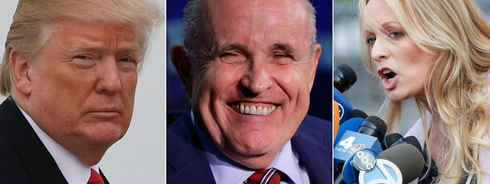 Neues Gesicht in der Stormy-Daniels-Affäre: Rudy Giuliani (M.) sagt, Trump habe seinem ehemaligen Anwalt das Geld zurückerstattet, dass dieser an Stephanie Clifford (r.) gezahlt hatte.