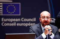 President of the European Council Charles Michel looks on as he attends an EU summit at the European Council building in Brussels, on July 18, 2020, as the leaders of the European Union hold their first face-to-face summit over a post-virus economic rescue plan. - The EU has been plunged into a historic economic crunch by the coronavirus crisis, and EU officials have drawn up plans for a huge stimulus package to lead their countries out of lockdown. (Photo by FRANCOIS LENOIR / POOL / AFP)