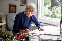 "(FILES) In this file photo taken on June 12, 2018 German-born British author and illustrator Judith Kerr, poses for a photograph at her home in west London on June 12, 2018. - British author Judith Kerr, author of the famous children's book ""The Tiger Who Came To Tea"" and creater of the ""Mog"" series, has died at the age of 95, her publisher Harper Collins announced on May 23, 2019. (Photo by Tolga Akmen / AFP)"