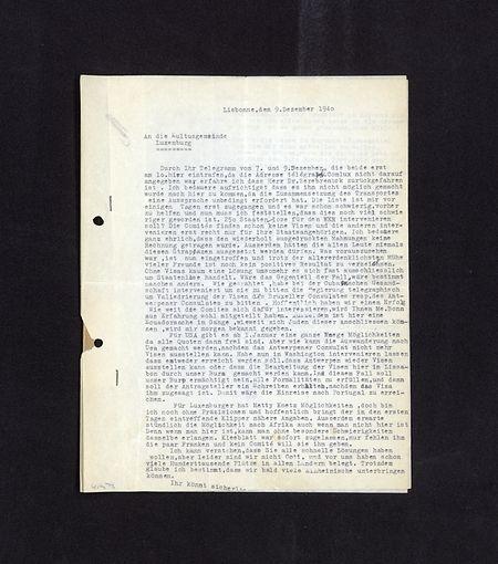 Die Frage, ob man sich vorrangig um jüdische Landsleute kümmern sollte, war auch innerhalb der israelitischen Gemeinschaft umstritten – Brief des Lissabonner COMLUX an das Konsistorium in Luxemburg.