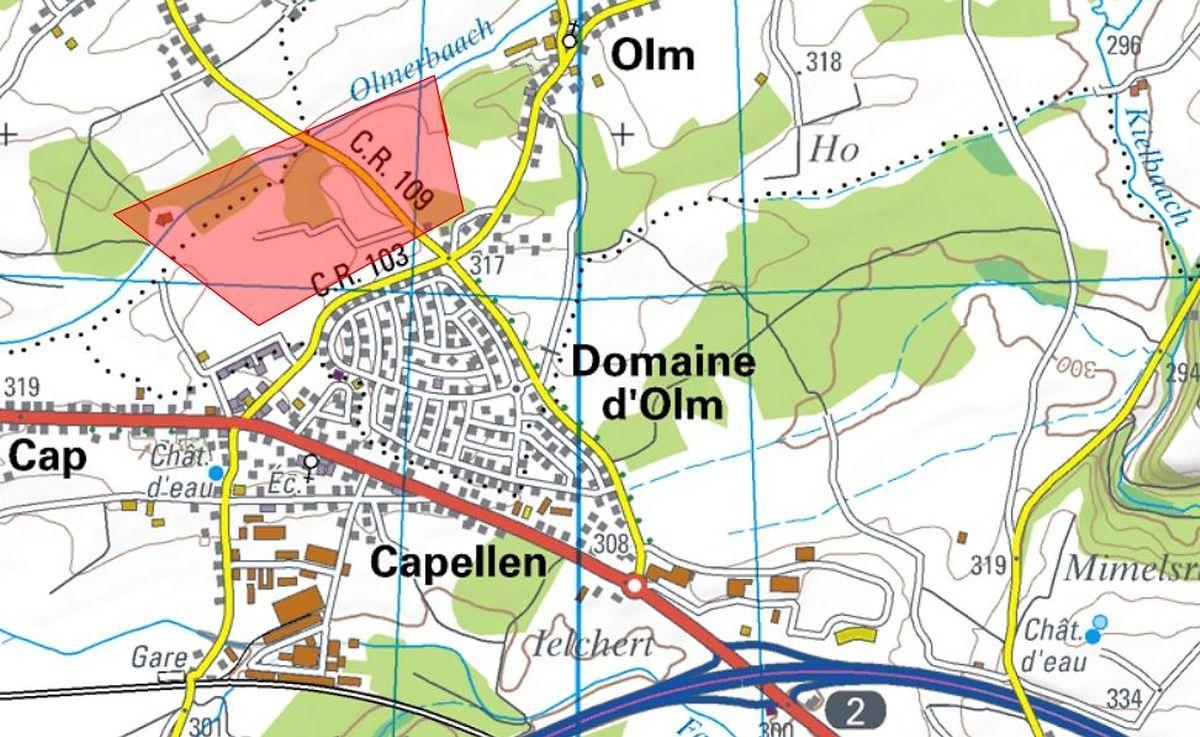 Die neue Siedlung wird in Olm-Sigelsriech entstehen. Das Gelände erstreckt sich über 27 Hektar und befindet sich in etwa auf der rot eingezeichneten Fläche.