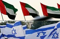 (COMBO) This combination of pictures created on August 13, 2020 shows a file photo taken on December 23, 2017 showing Emirati national flags in the capital Abu Dhabi (top) and a file photo taken on May 21, 2020, showing Israeli national flags in Jerusalem. - US President Donald Trump today made the surprise announcement of a peace agreement between Israel and the United Arab Emirates. (Photos by KARIM SAHIB and Ahmad GHARABLI / AFP)