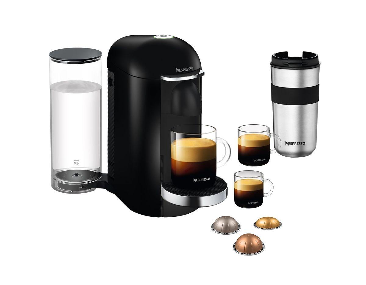 """Kaffeebereiter """"VertuoPlus round"""", um 200 Euro. Kapseln ab 0,45 Euro."""