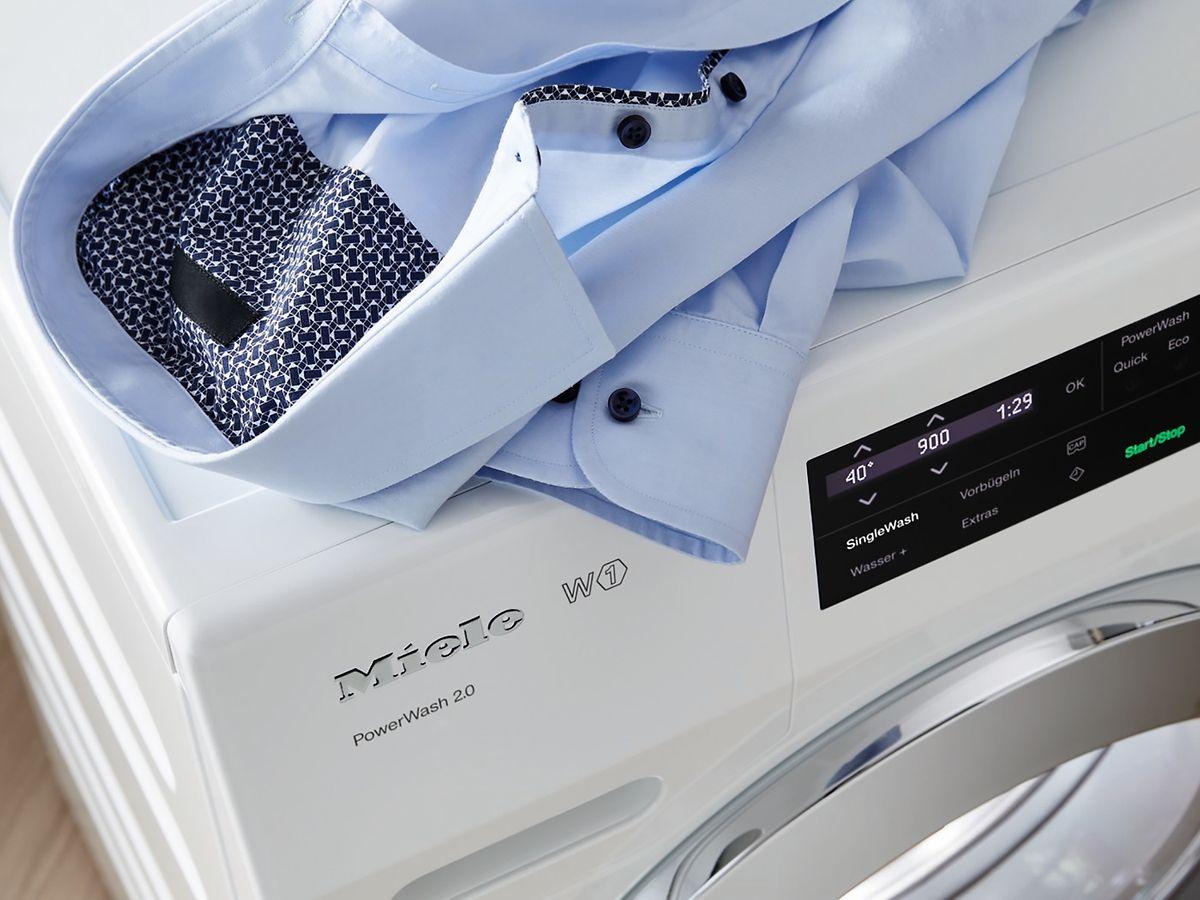"""Miele bietet für Waschmaschinen nun die Funktion """"Single Wash""""an. Wasser- und Energieverbrauch sowie die Programmlaufzeit werden dabei auf kleine Mengen in der Trommel angepasst."""