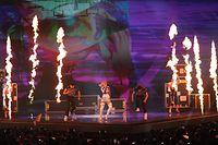 14.05.2019, Israel, Tel Aviv: Zena aus Weißrissland tritt im ersten Halbfinale des Eurovision Song Contest 2019 auf. Teilnehmer aus 41 Ländern singen um die Wette. Das Finale ist am 18.05.2019. Foto: Ilia Yefimovich/dpa +++ dpa-Bildfunk +++