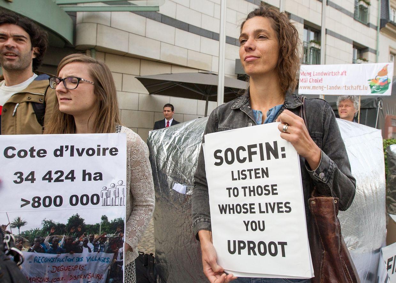 Les militants demandent aux actionnaires de Socfin de faire pression sur les dirigeants de l'entreprise pour respecter les droits des communautés locales.