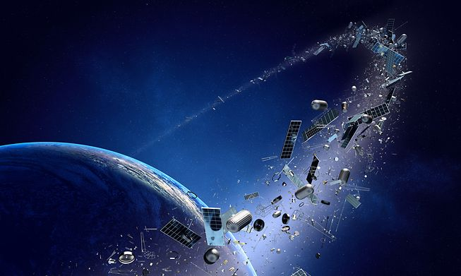 Space debris orbiting the earth