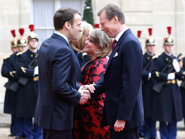 Le Grand-Duc Henri et la Grande Duchesse Maria Teresa arrivent au Palais de l'Elysée à Paris, le 19 mars 2018