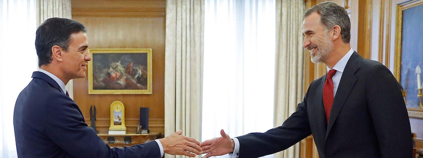 König Felipe empfing Sanchez am Donnerstag im Zarzuela-Palast.