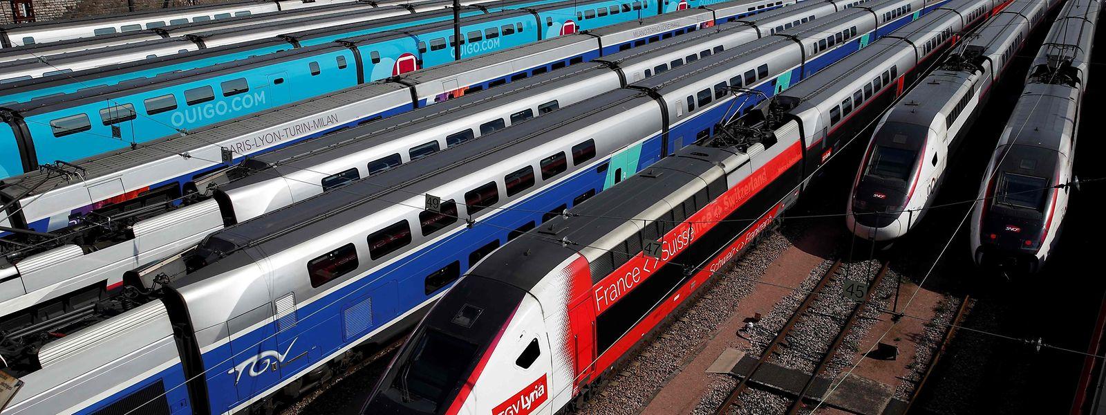 TGV stehen in der Nähe des Bahnhofs Gare de Lyon am 23. Tag der landesweiten Ausgangssperre aufgrund des Coronavirus.