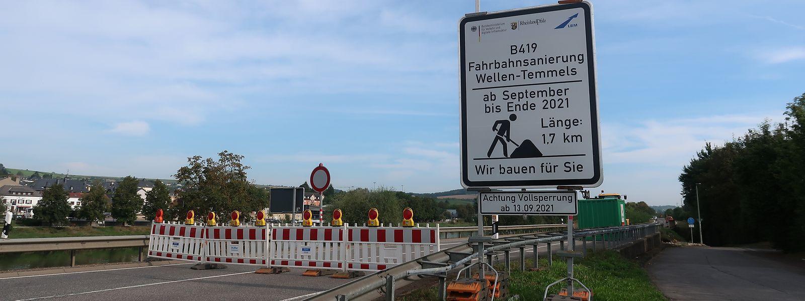 Die B419 auf der deutschen Seite gegenüber Grevenmacher ist eine stark frequentierte Straße.