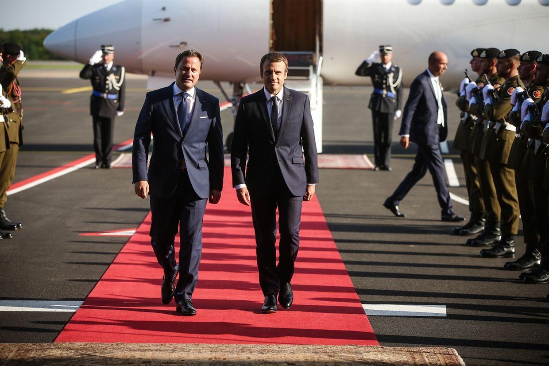Arrivée du président de la République française, Emmanuel Macron au Findel