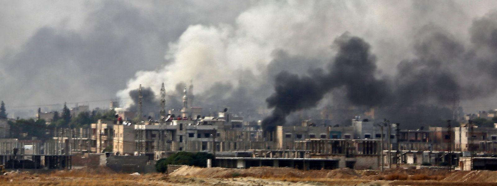 Die von Kurden gehaltene syrische Grenzstadt Ras al-Ain am Mittwoch.