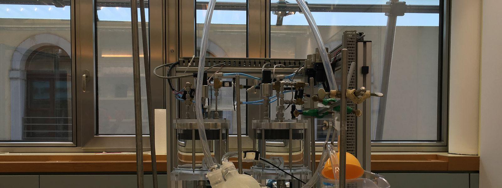 Die Belastbarkeit des Silikonherzens wird mit einer Maschine getestet, die den menschlichen Kreislauf nahezu perfekt simulieren kann.