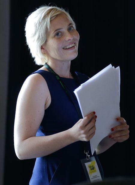 Elisabet Johannesdottir auf der Probebühne im Kapuzinertheater.