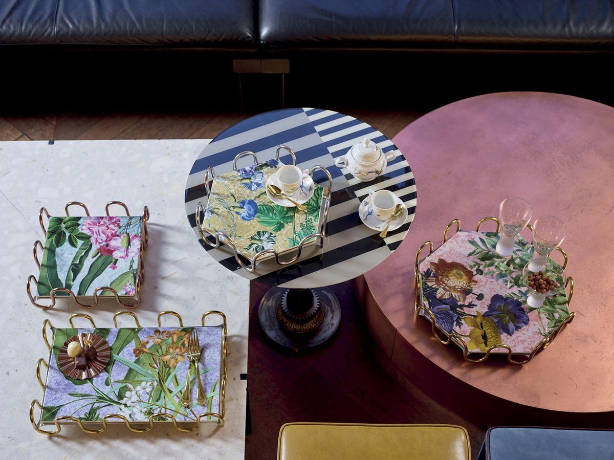 """Sambonet setzt mit der neuen Platten-Kollektion namens """"Kyma Florilegium"""" auf ein opulentes Blütendekor."""