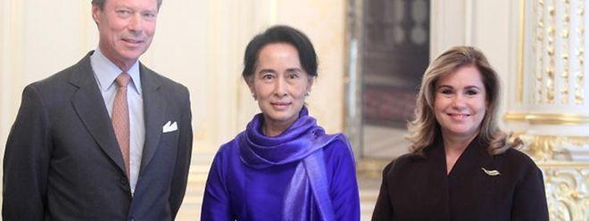 Friedensnobelpreisträgerin Aung San Suu Kyi beim großherzoglichen Paar.