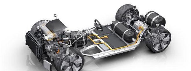 So sieht das Innenleben eines Brennstoffzellenwagens aus.
