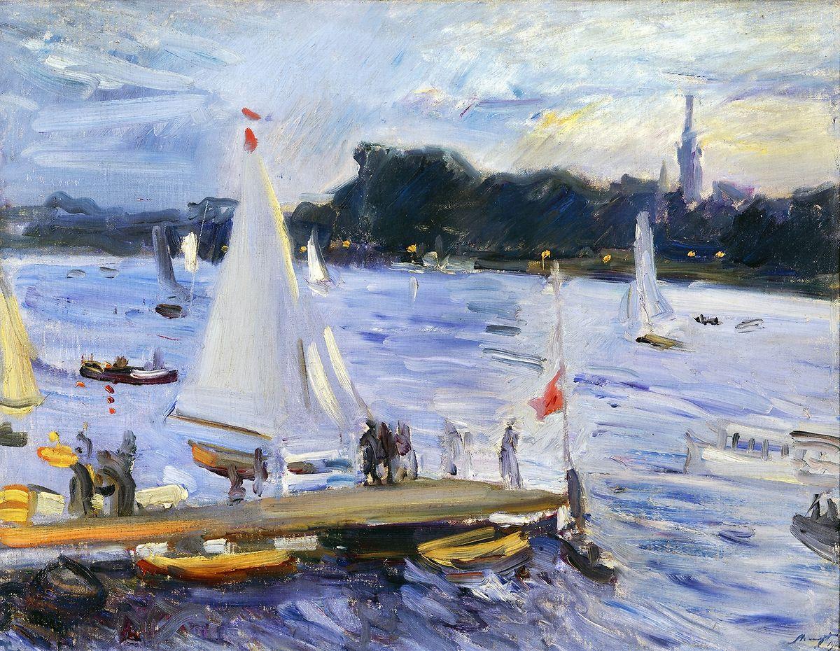 """Slevogts """"Segelboote auf der Alster am Abend"""" (1905) zeigt seinen herrlichen Umgang mit Farben."""