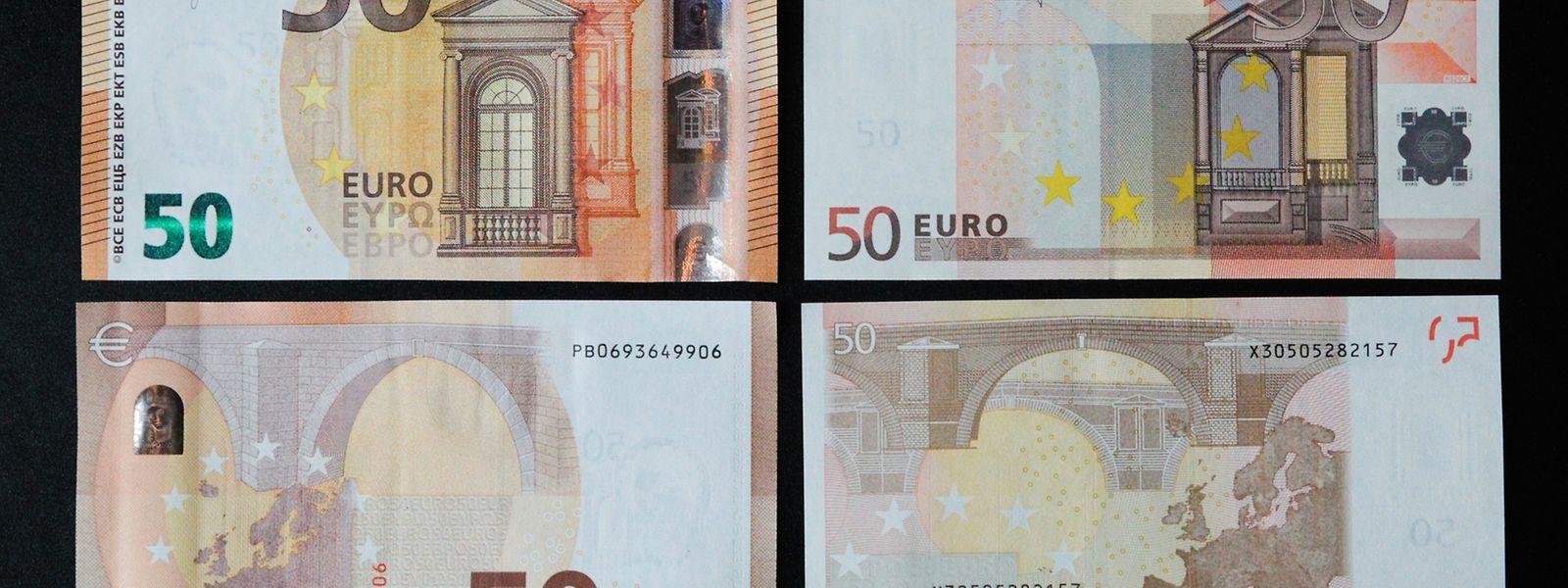 Do lado esquerdo a nova nota de 50 euros e do lado direito a antiga