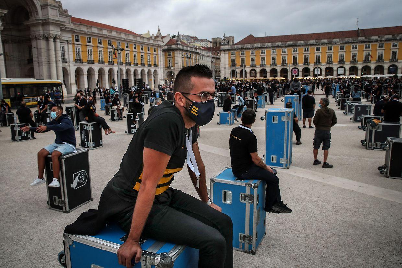 Protesto no Terreiro do Paço da Associação Portuguesa de Serviços Técnicos para Eventos.