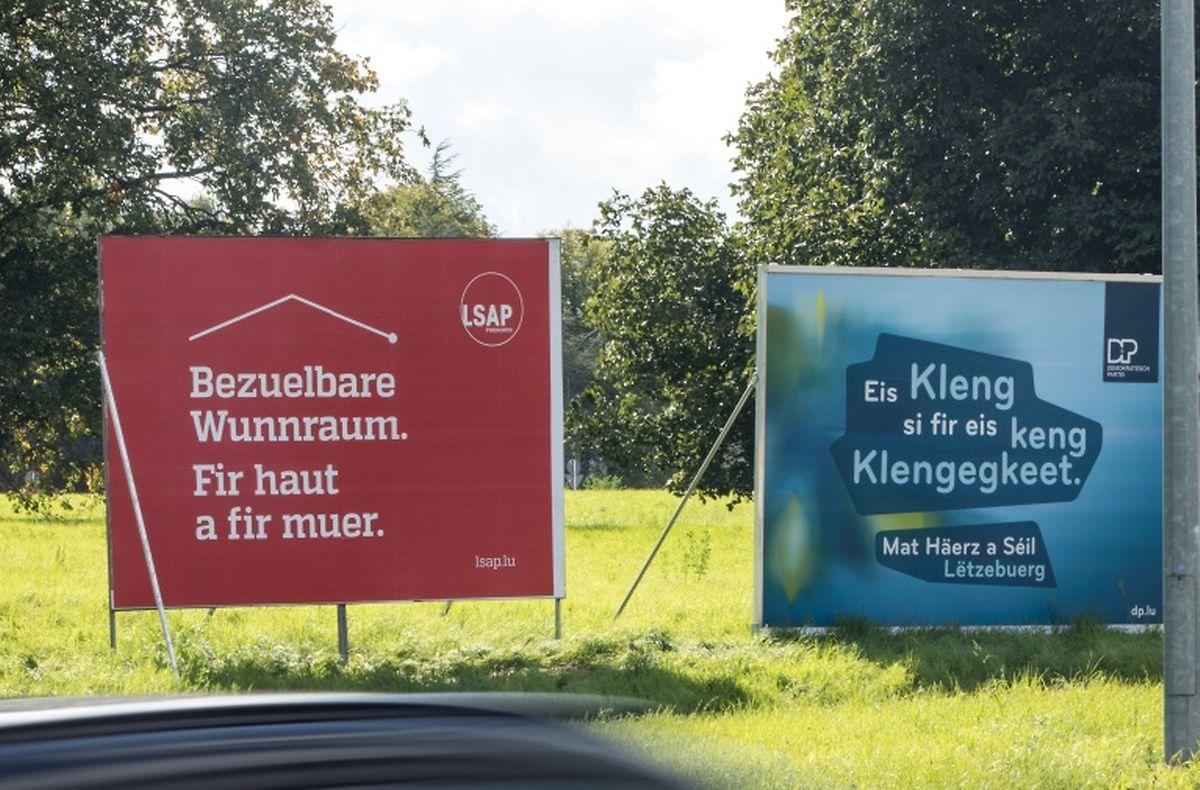 Botschaft, Logo, Signalfarbe: Die LSAP und die DP haben sich bei ihren nationalen Plakaten für eine schlichte Variante entschieden.