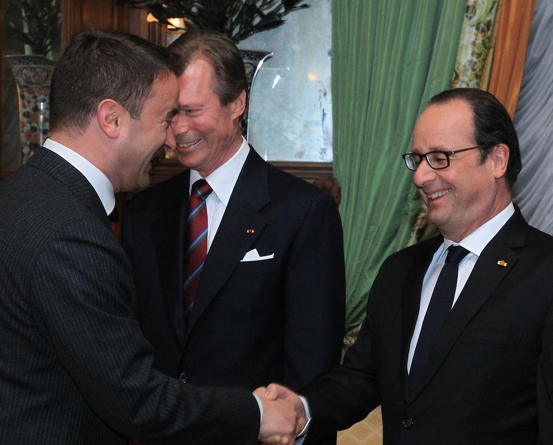 Réception au palais grand-ducal : François Hollande avec le Premier ministre, Xavier Bettel