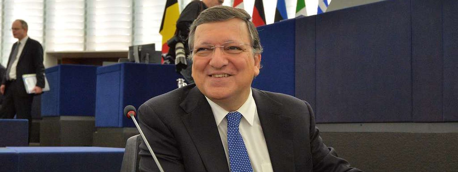 Outgoing European Commission President Jose Manuel Barroso attends the review of the Barroso II Commission, in the European Parliament Strasbourg, eastern France on October 21, 2014. Barroso will be replaced at the head of the Commission by Luxemburg's Jean-Claude Juncker.  AFP PHOTO / PATRICK HERTZOG