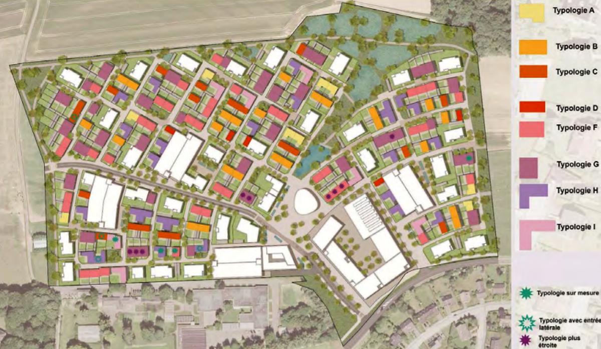 Les neuf types de maisons seront uniformément répartis dans le village central.