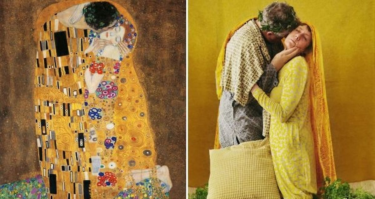 Gustav Klimt's The Kiss plus Molly O'Cathain's restaging.