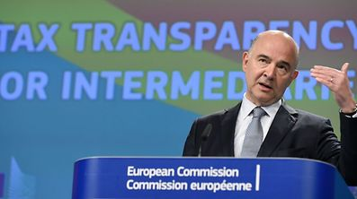 EU Commissioner for Economic and Financial Affairs, Taxation and Customs Pierre Moscovici speaks during a press conference on Tax Intermediaries proposal on June 21, 2017 at the EU headquarters in Brussels.