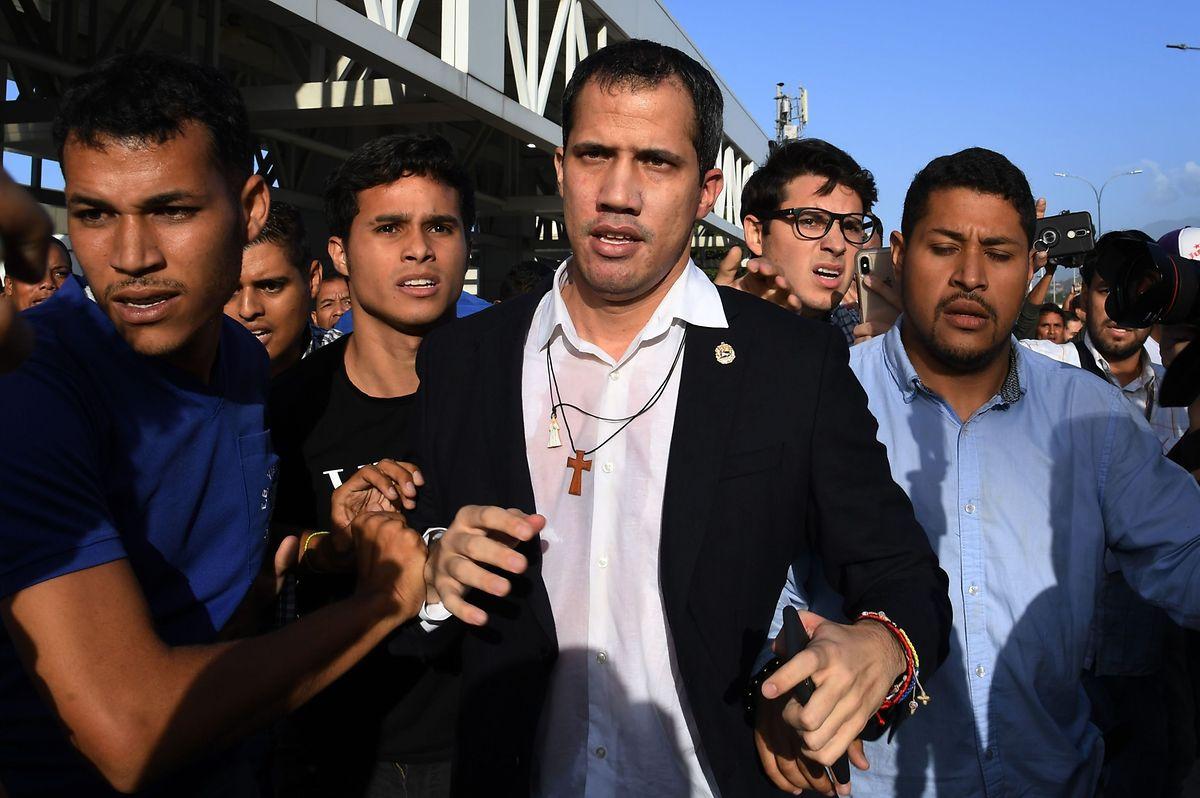 Juan Guaido bei seiner Rückkehr nach Venezuela am Dienstag.